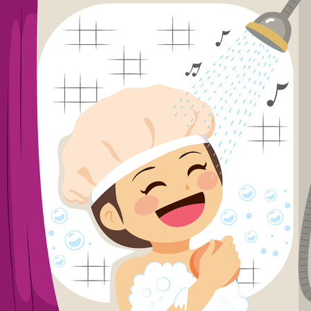 Girl singing on shower while scrubbing skin with sponge Vector illustration.