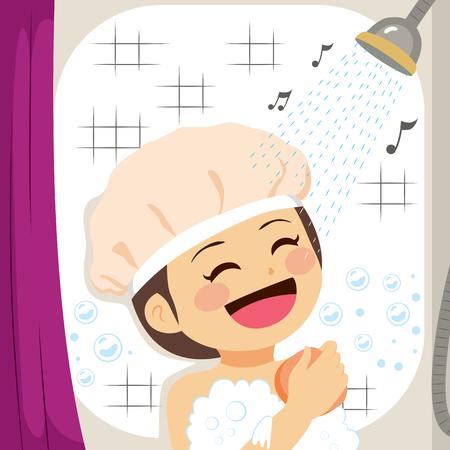Ragazza che canta sulla doccia mentre sfrega la pelle con l'illustrazione di vettore della spugna.