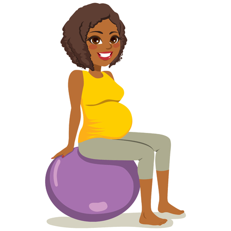 Beautiful young African American woman pregnant exercising yoga with fitness ball