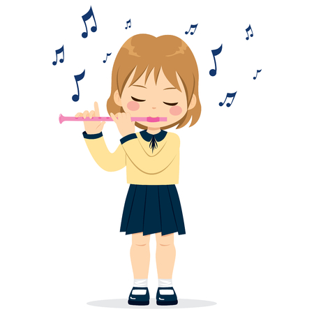 Young cute little girl playing flute.