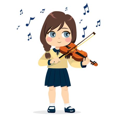 Young cute little girl playing violin happy enjoying music