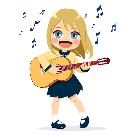 Cute little girl playing guitar instrument with happy face expression in school uniform