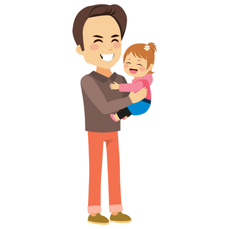 Young father holding cute cheerful daughter with happy face expression Illustration