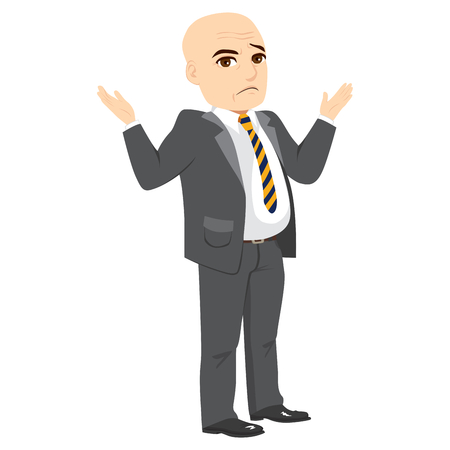 Senior businessman making shrug with shoulders and confused face expression