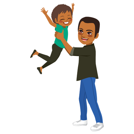 Young African American father holding daughter up playing flying