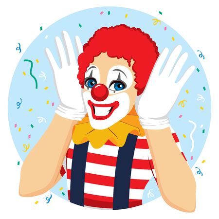 Funny clown portrait with hands on ears happy face expression and big smile