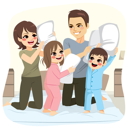 Happy sweet family making pillow fight over bed on bedroom having fun Ilustração