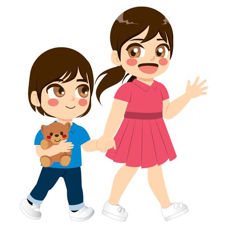 Cute young siblings walking together caring concept