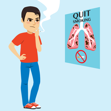 Man with smoke looking quit smoking concept poster campaign thinking