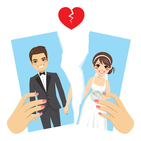 Illustration ripped photo divorce concept with female hands breaking apart wedding day portrait Illustration