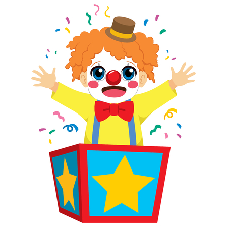 Cute little happy clown boy coming out of inside surprise box