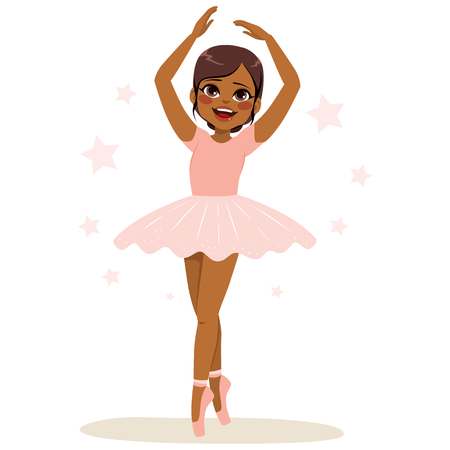 Sweet young African American teenager girl ballerina wearing pink tutu and dancing