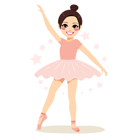 Cute brunette young teenager girl ballerina wearing pink tutu and dancing Illustration