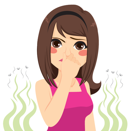 Young teenager girl pinching her nose bad stinking bad smell concept