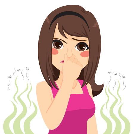 그녀의 코 나쁜 악취 나쁜 냄새 개념을 곤란하게하는 어린 십대 소녀