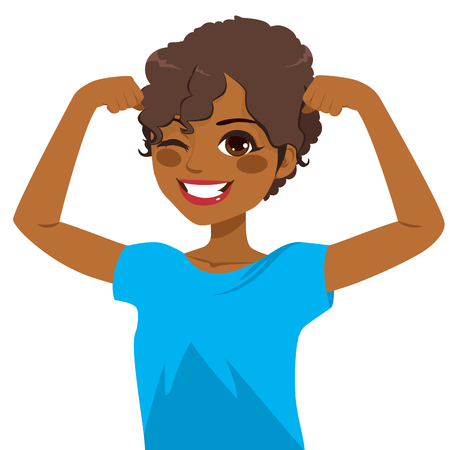 Beautiful young strong powerful African American girl winking eye and showing her muscles with blue shirt Çizim