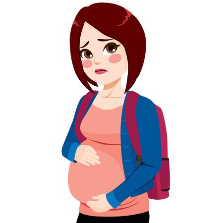 Giovane ragazza triste dell'adolescente con lo sguardo preoccupato che tocca la sua pancia Vettoriali
