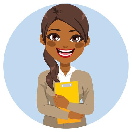 Young beautiful African American secretary holding yellow folder smiling happy Illusztráció