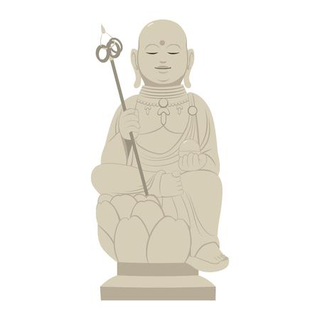 Grey stone Japanese Shinto religion statue on Buddhism sanctuary shrine