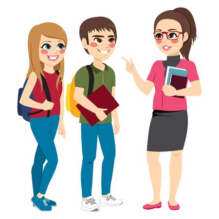 Leraar die met jonge tienerstudenten spreekt