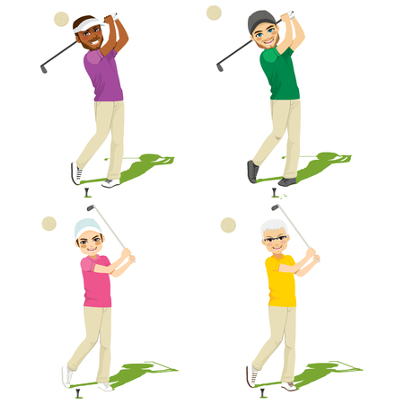 Set collection of four different golf male players making swing Illustration