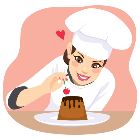Beautiful young chef woman decorating chocolate dessert with cherry