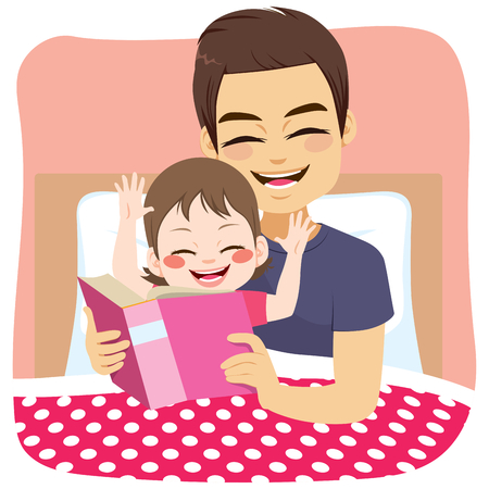 Young lovely father reading fairytale on bedroom to daughter