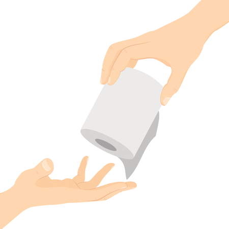 Helpful hand holding toilet paper passing to other hand in need