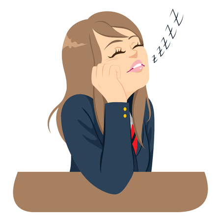 Young carefree student girl sleeping bored at classroom