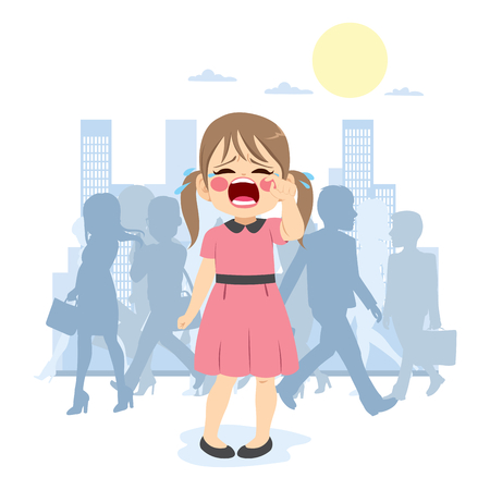 Little young cute girl crying lost in crowded city