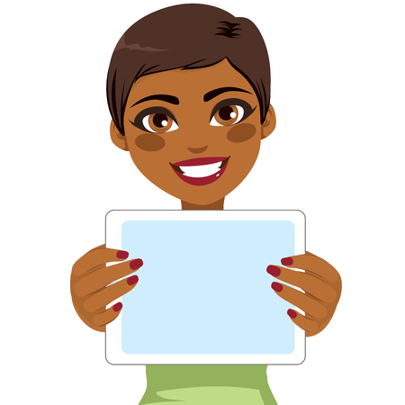 Young beautiful African American woman holding tablet Stock Vector - 100501884