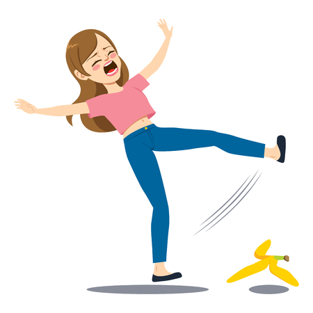 Woman falling down on the floor slipping on banana peel Vectores