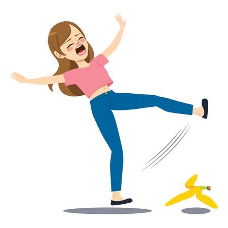 Woman falling down on the floor slipping on banana peel Illustration