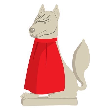 Stone Shinto religious statue of fox with red cape