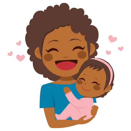 Cute African American mother holding her cute baby girl Stock Illustratie