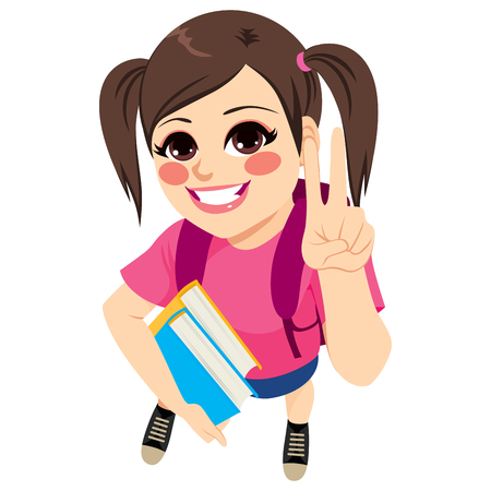 Beautiful young student holding books and backpack making victory hand sign gesture Stock Illustratie