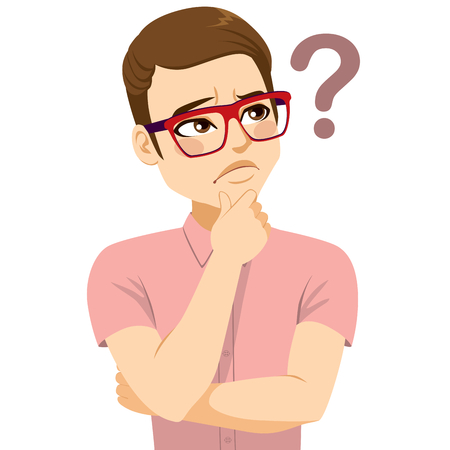 Young man with glasses thinking looking suspiciously doubting question mark
