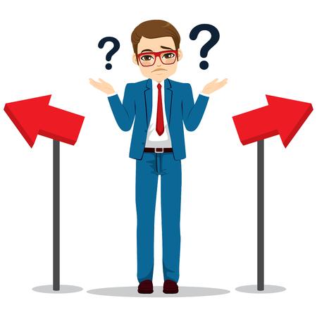 Jonge zakenman met verwarde gezichtsuitdrukking twijfelende richting keuze concept