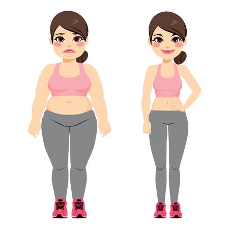 Dikke vrouw vóór en slank na het doen van fitness sport oefening