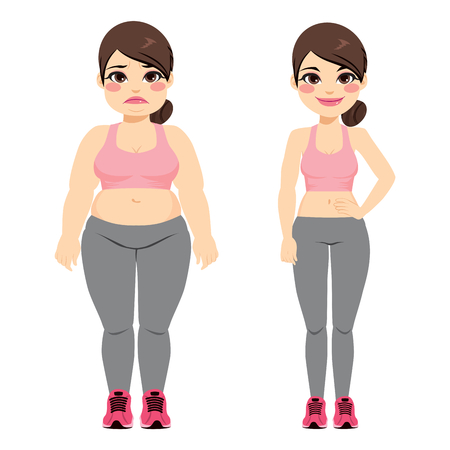 Fat woman before and slim after doing fitness sport exercise 스톡 콘텐츠 - 100956853