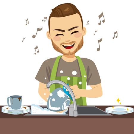 Giovane uomo felice che indossa il grembiule che lava i piatti sporchi cantando Vettoriali
