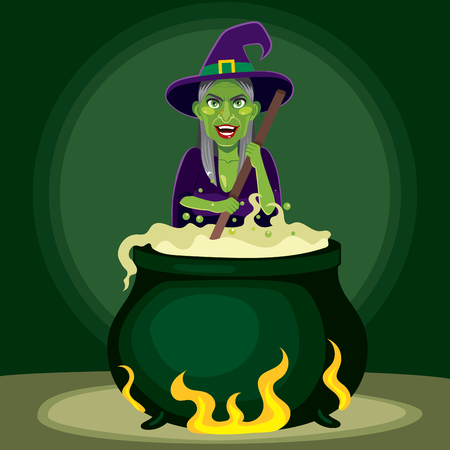 Old evil witch preparing magic poison potion on cauldron