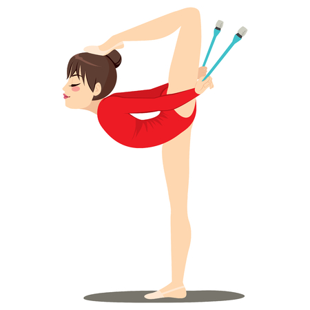 Flexible professional gymnastics rhythmic woman with foot on hair bun holding clubs