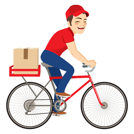 Young delivery service man on bicycle delivering cardboard package Illustration