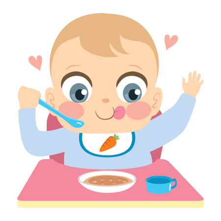 Cute little happy baby boy eating food alone independently holding spoon 向量圖像