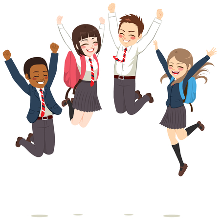 Happy teenager students wearing uniform jumping celebrating success having fun Ilustração