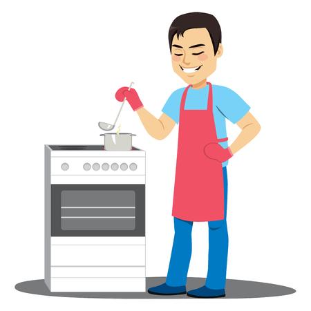 Jeune homme la cuisson de la soupe sur la cuisine électrique en remuant le pot avec louche Vecteurs