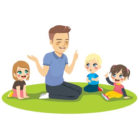 Junge männliche Kindergärtnerin, die den aufmerksamen Kindern, die auf dem Boden sitzen, Unterricht erklärt