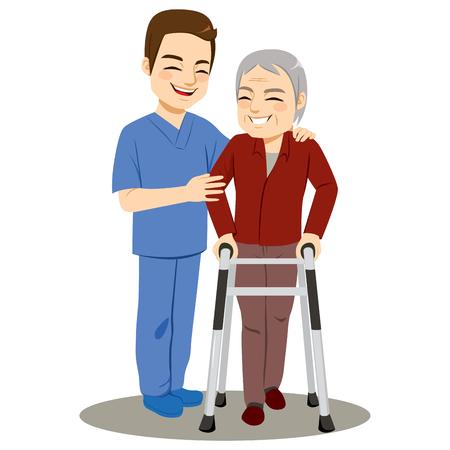 Joven enfermero ayudando a hombre mayor con ayudante andador caminando