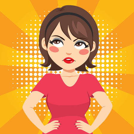Frustrated fed up woman rolling eyes face expression with hands on hips  イラスト・ベクター素材